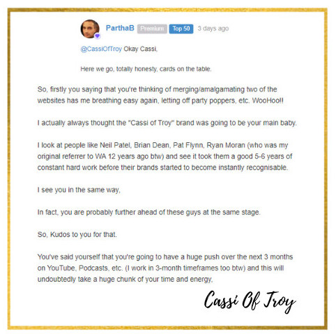 Partha's Comment in Wealthy Affiliate about Cassi Of Troy's brand