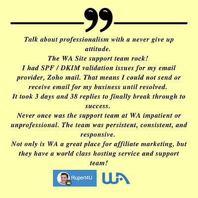 Rupert from Wealthy Affiliate explaining why Site Support is so great