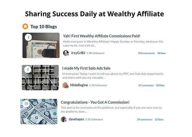Sharing Success Daily at Wealthy Affiliate