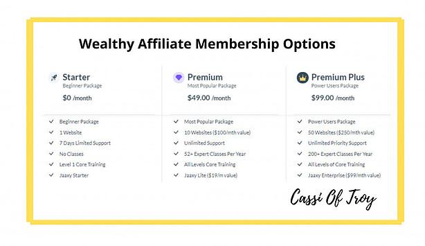 Wealthy Affiliate Membership Options