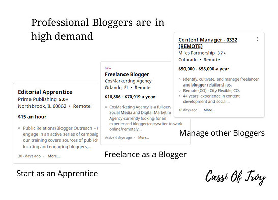 Professional Bloggers are in high demand - Cassi Of Troy