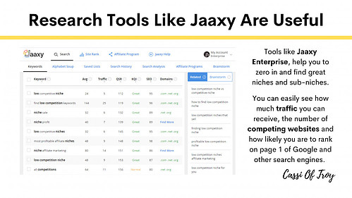 Research Tools Like Jaaxy Are Useful - Cassi Of Troy