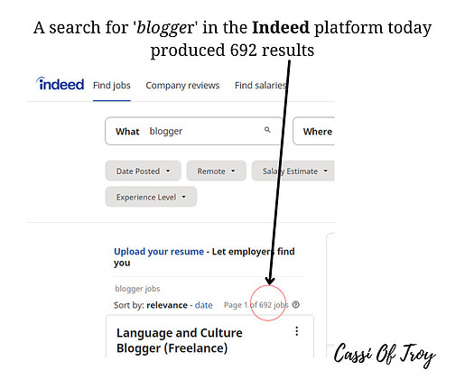 Search for Blogger on Indeed - Cassi Of Troy